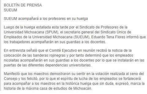 """Boletin en """"solidaridad"""" del SUEUM al SPUM"""