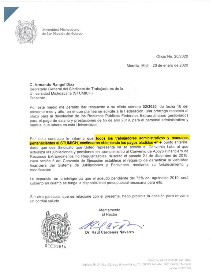 Respuesta del Rector de la UMSNH. Cárdenas Navarro a la solicitud del STUMICH