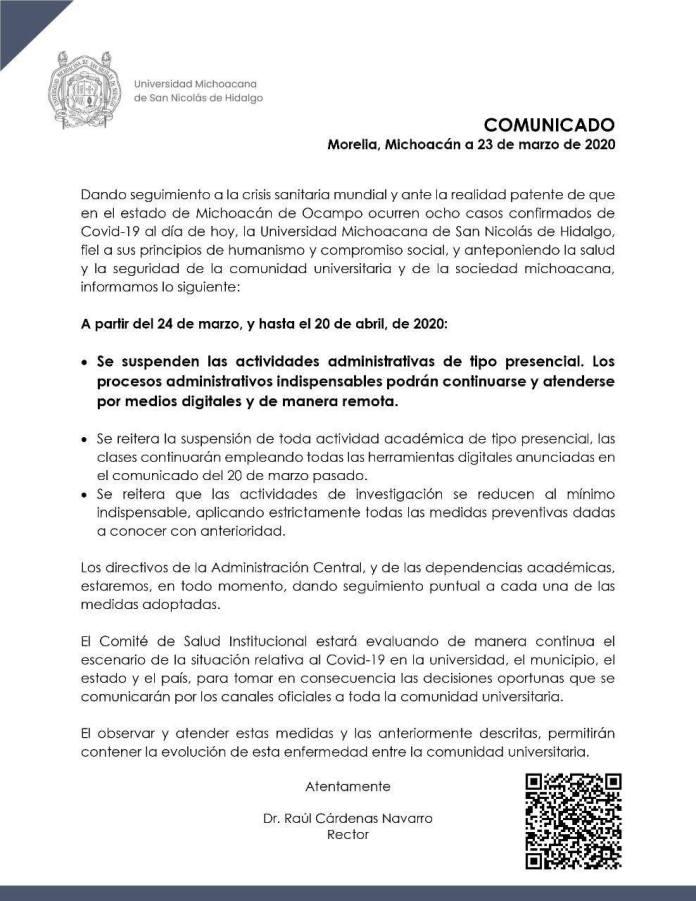 Comunicado de suspensión de actividades en la Universidad Michoacana de San Nicolás de Hidalgo por el Coronavirus Covid-19