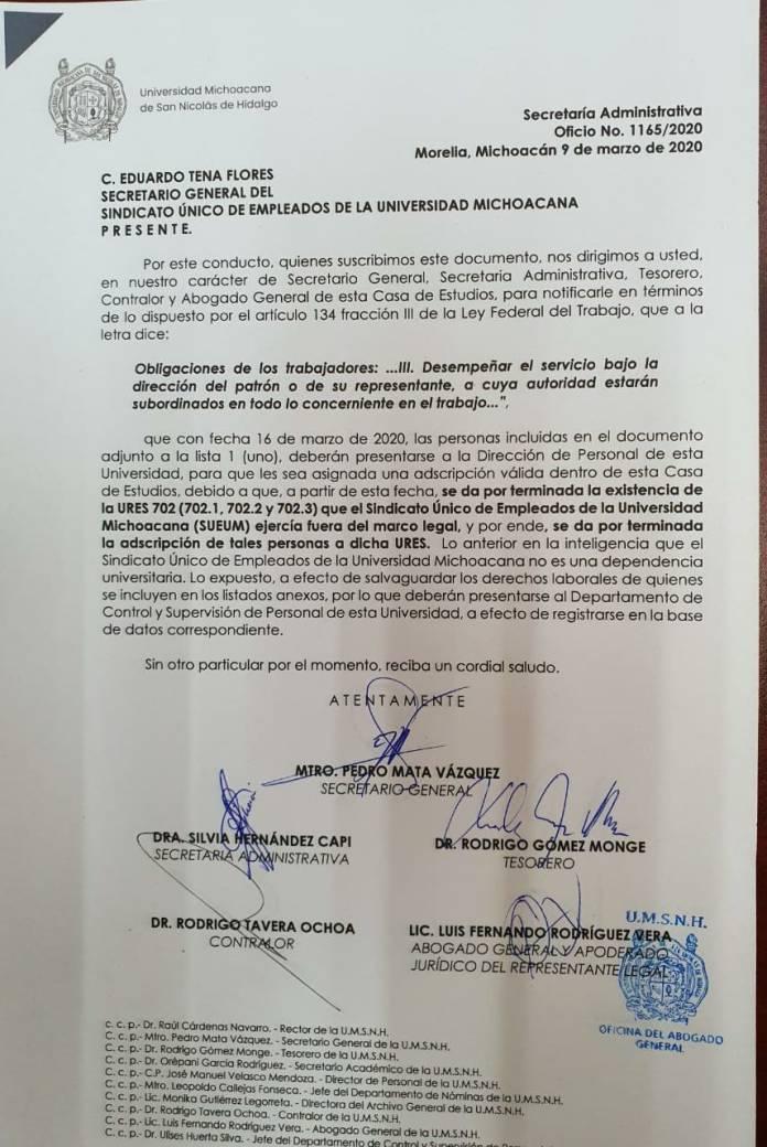 """Por terminada, la existencia de la """"tesorería"""" del Sindicato Único de Empleados de la Universidad Michoacana, dentro de la UMSNH"""