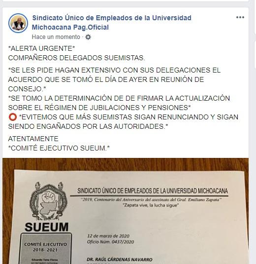 En redes sociales el SUEUM pide a sus agremiados en convencer a otros de que NO renuncien.