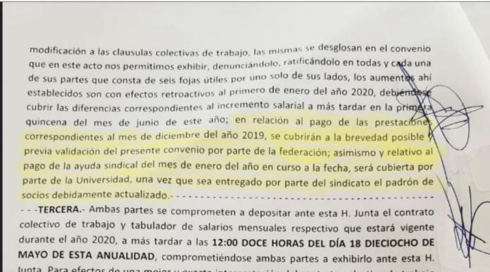 """Acuerdo firmando entre la UMSNH y el SUEUM ante la JLCA -el 18 de marzo- que condiciona el pago de la ayuda sindical a un padron de socios """"debidamente actualizado"""""""