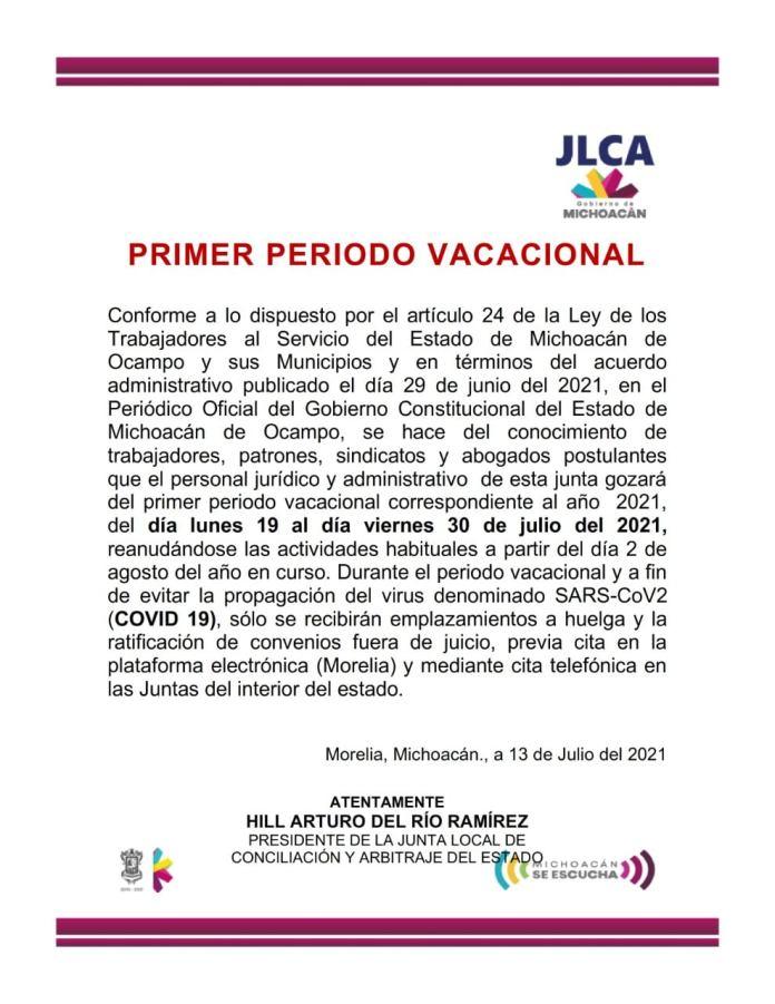Junta Local de Conciliación y Arbitraje; aun en periodo vacacional proporciona atención para ratificar acuerdos.