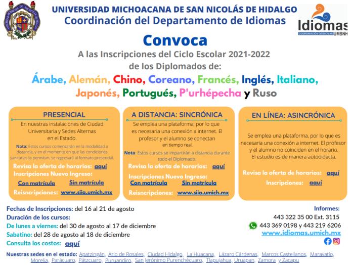 Convocatoria departamento de Idiomas - UMSNH