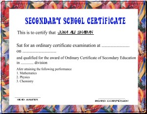 Secondary Education Certificate Sample