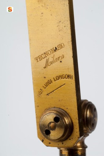 The brand of the Tecnomasio factory, engraved on the arm of a Phisics' collection instrument (ph. A. Mauri, RAS)
