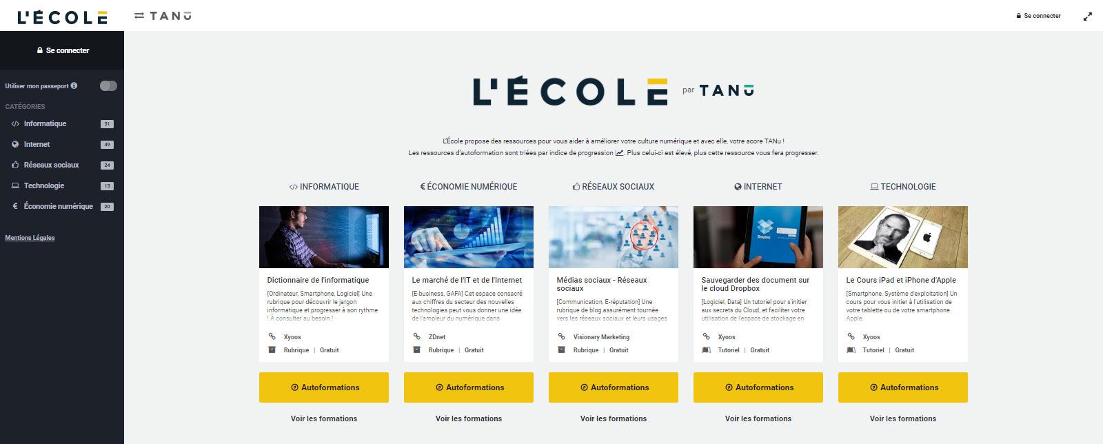 Lancement de « L'Ecole TANu », première plateforme de culture numérique