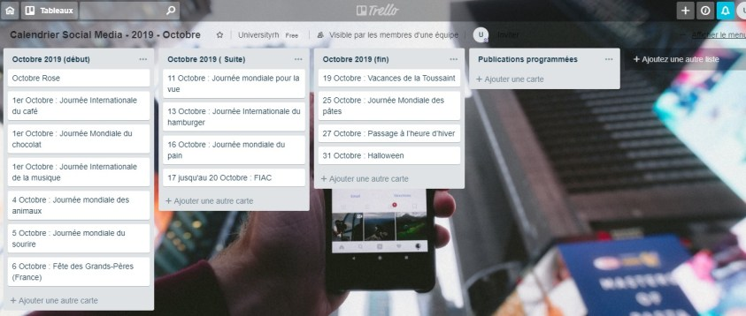 Calendrier Social Media - 2019 - Octobre