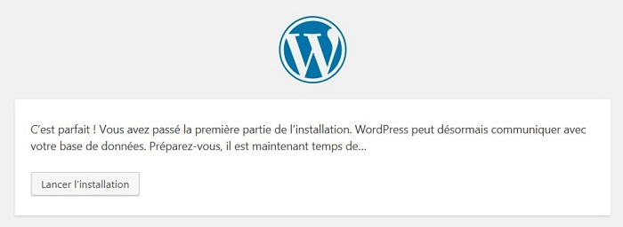 « lancer l'installation » de WordPress