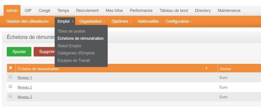orangeHRM - echelon - remuneration