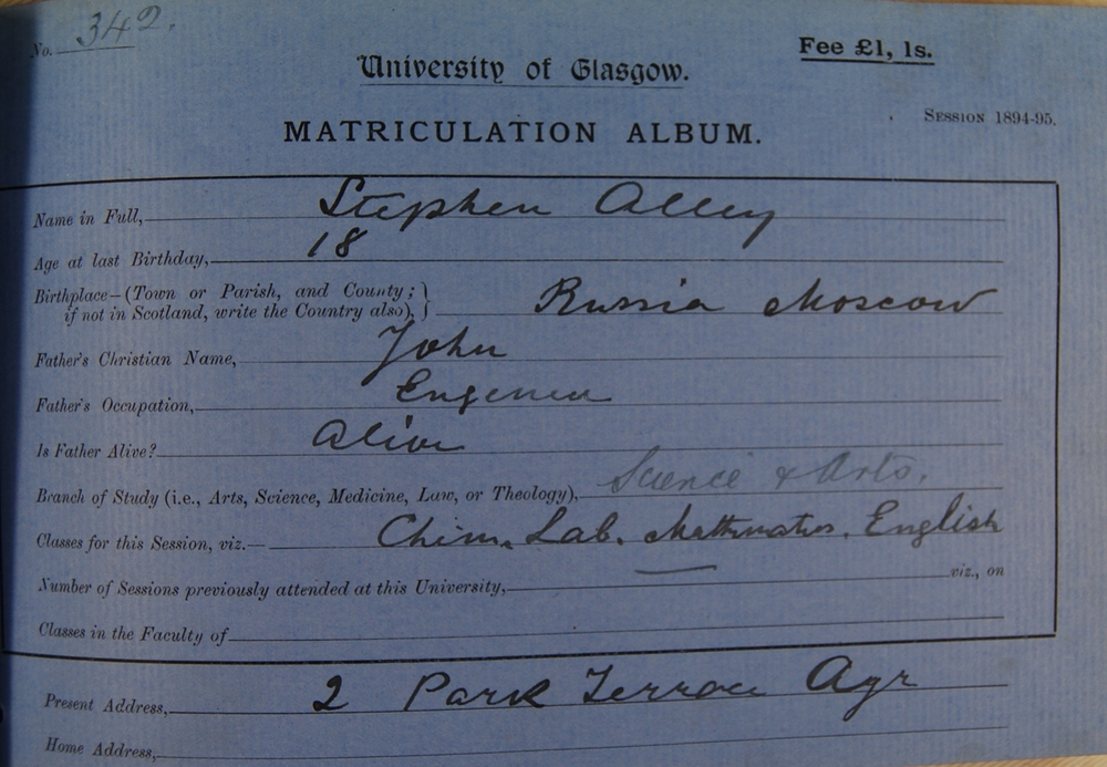 Stephen Alley's matriculation slip