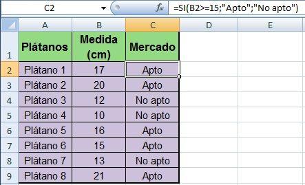 Ejemplo 1 de la fórmula SI de Excel