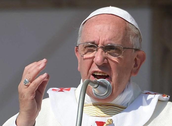 Papa Francesco durante l'omelia in Calabria