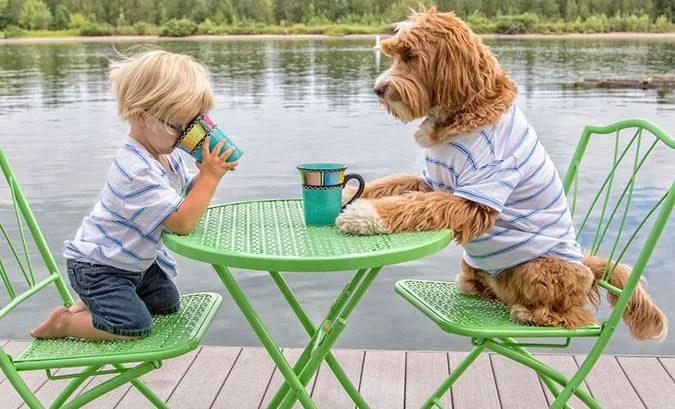 bambino adottato e il suo cane