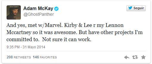 Sí, he hablado con Marvel. Kirby y Lee son mi Lennon [y mi] McCartney y eso es increíble. Pero tengo otros proyectos en los que estoy comprometido. No estoy seguro de que pueda funcionar.
