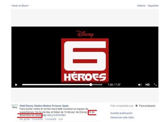 Comunicado de Disney España por Facebook.