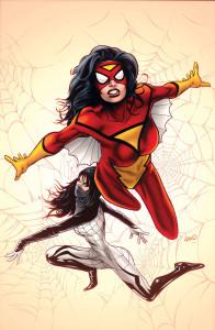 Ilustración de Greg Land para la portada de Spider-Woman 1