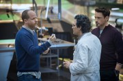 Marvel's Avengers: Age Of Ultron Director Joss Whedon working on set with actors Mark Ruffalo and Robert Downey Jr. Ph: Jay Maidment ©Marvel 2015