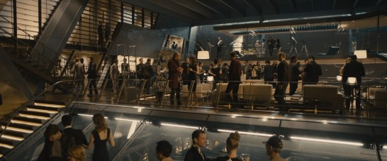 Marvel's Avengers: Age Of Ultron Thor (Chris Hemsworth) and Dr. Cho (Claudia Kim) at Avengers Tower party scene Ph: Film Frame ©Marvel 2015