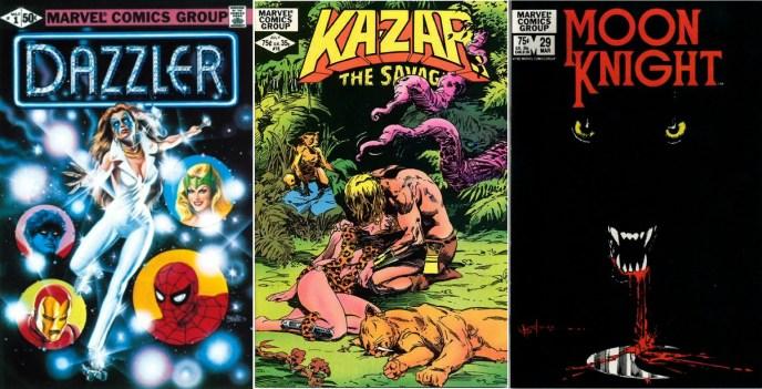 """Con Tom DeFalco y John Romita jr. como tándem creativo, Dazzler fue la primera colección que Marvel comercializó exclusivamente en librerías especializadas. El experimento se saldó con un rotundo éxito, llegando a venderse más de 400.000 unidades del primer número. Ello animaría a la editorial a probar fortuna con otros títulos como Ka-Zar El Salvaje, Caballero Luna y Micronautas, que pasaron a distribuirse sólo para el mercado de """"direct sales"""". Ampliad la imagen y comprobaréis que las portadas de Ka-Zar y Moon Knight ya no llevan el sello del """"Comics Code Autorithy""""."""
