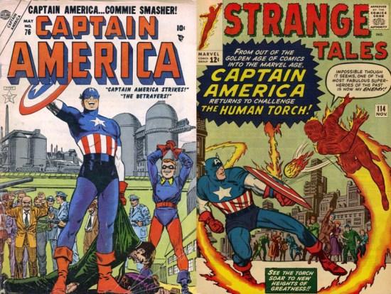 Tanto el Capitán América anticomunista de los años cincuenta como la versión que se presentó en 1963 tenían algo en común que los delataba como impostores... ¡el color de sus gayumbos!