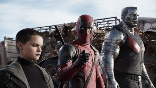 Deadpool (Ryan Reynolds) pauses from a life-and-death battle to break the fourth wall, much to the dismay of his comrades Negasonic Teenage Warhead (Brianna Hildebrand) and Colossus (voiced by Stefan Kapicic).