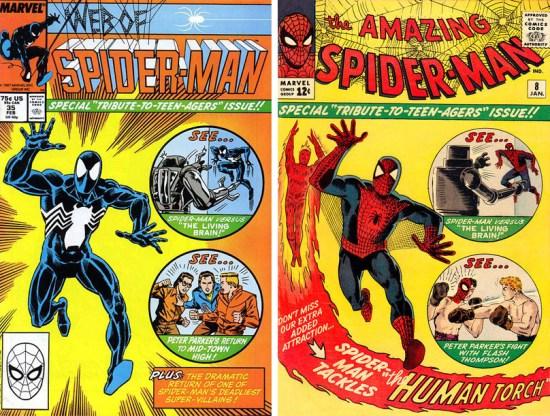 Ahí va una rareza arácnida: La portada de Alex Saviuk para Web of Spider-Man Nº 35 USA (Octubre de 1987) rendía tributo al clásico Amazing Spider-Man Nº 8 USA publicado casi un cuatro de siglo atrás. El episodio muestra a Peter Parker regresando a su antiguo instituto como profesor suplente, donde volverá a toparse con el Cerebro Viviente.