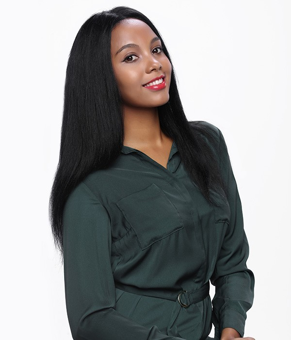 Yaki Straight Remy Human Hair Lace Front Wig UniWigs