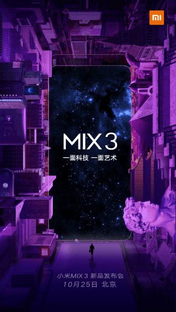 Xiaomi Mi Mix 3 officially-25 October