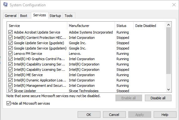 Disabling-all-Microsoft-services-using-msconfig