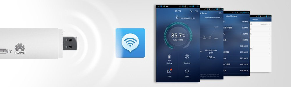 Supports Huawei Mobile Wi-Fi App