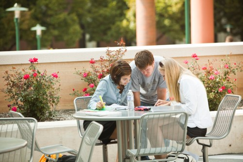 Image result for studying outside at table