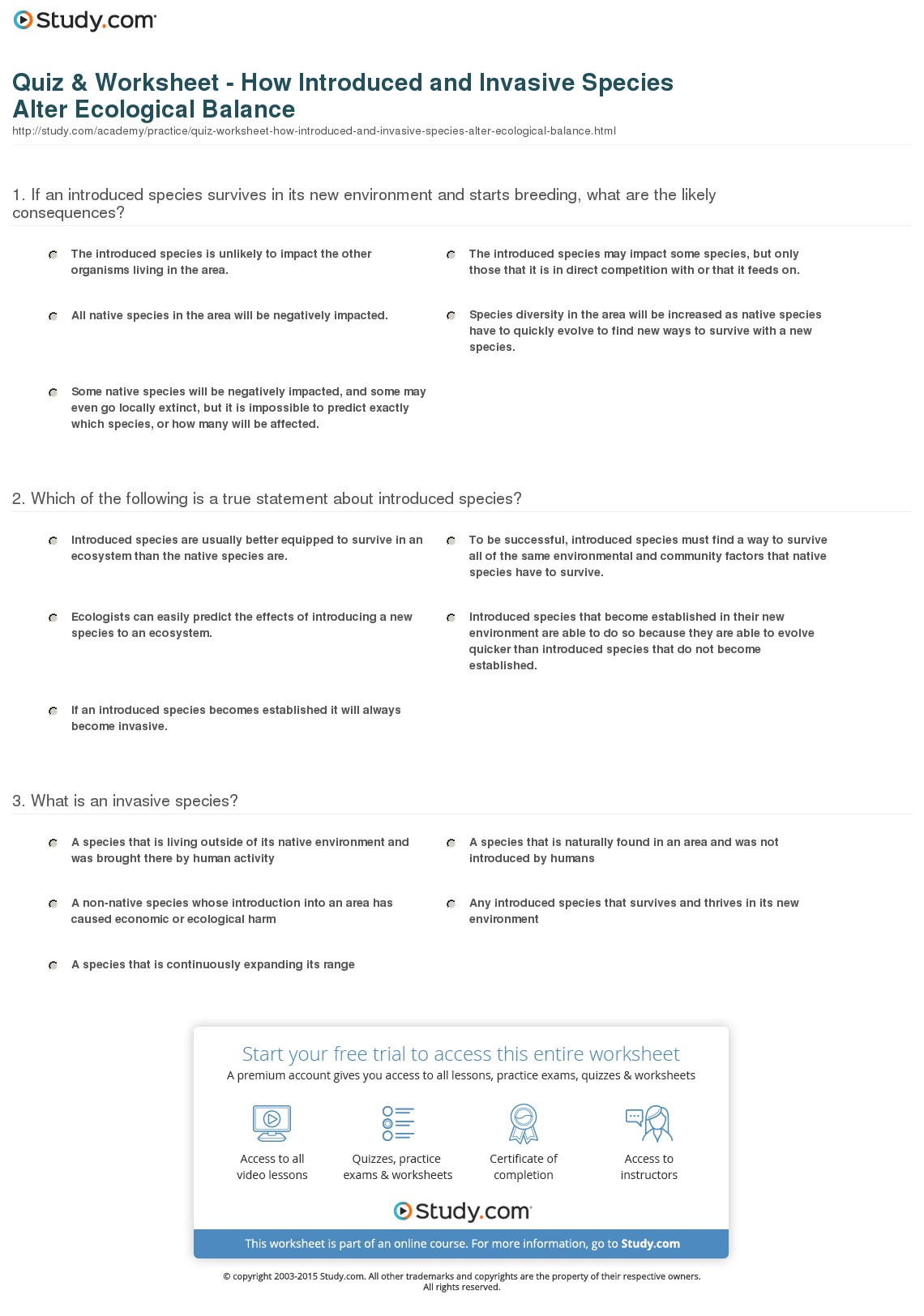 Ecology Worksheets For Middle School