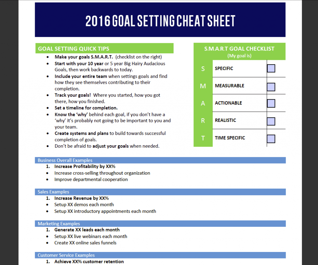 Goal Setting For Your Business Worksheets Samples