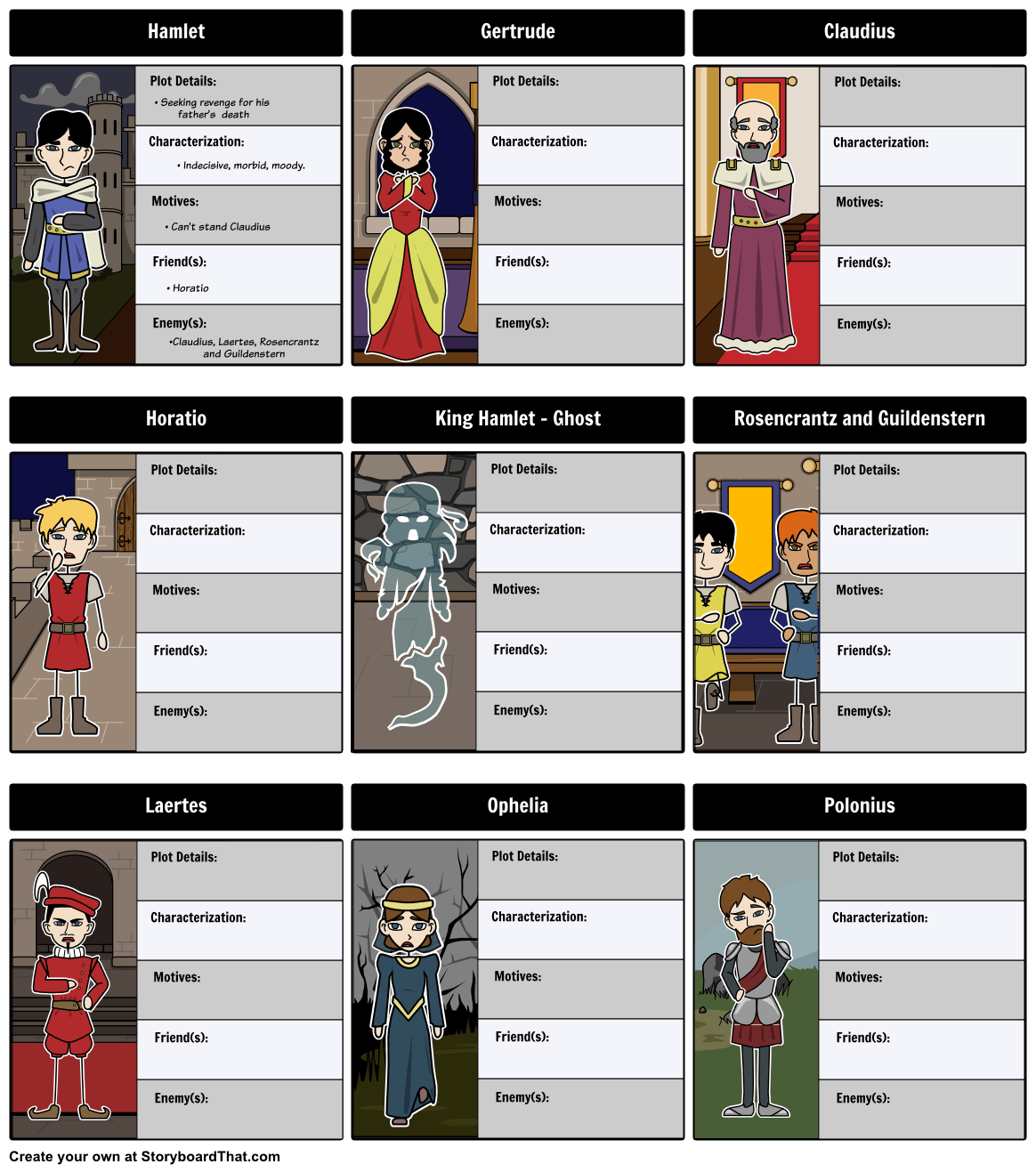 Character Map Worksheets