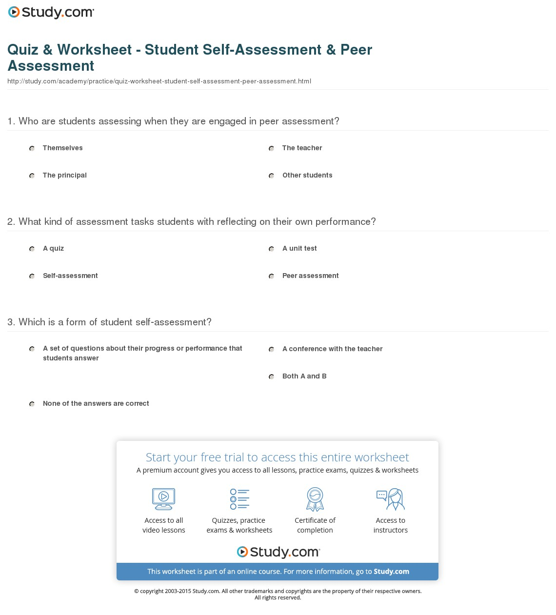 Art Self Assessment Worksheets