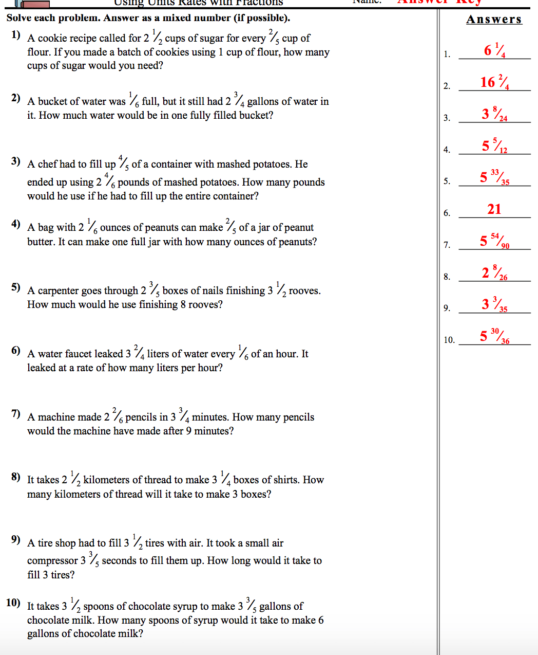 Slope And Unit Rate Worksheets