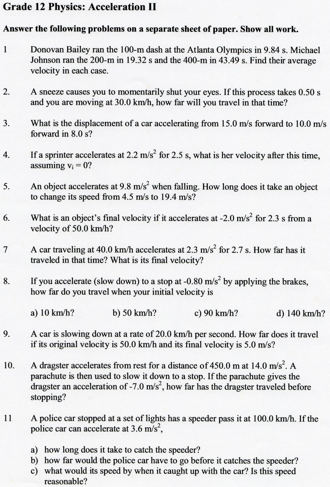 Velocity And Acceleration Calculation Worksheets Answer Key