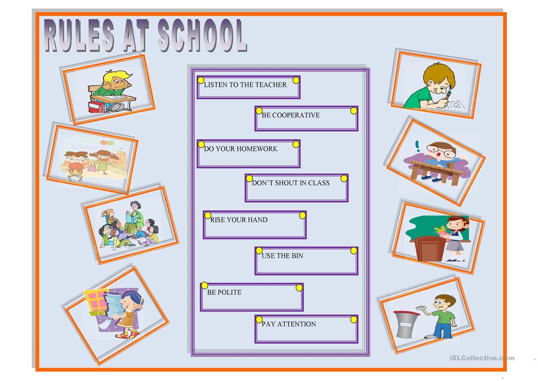 School Rules Worksheets