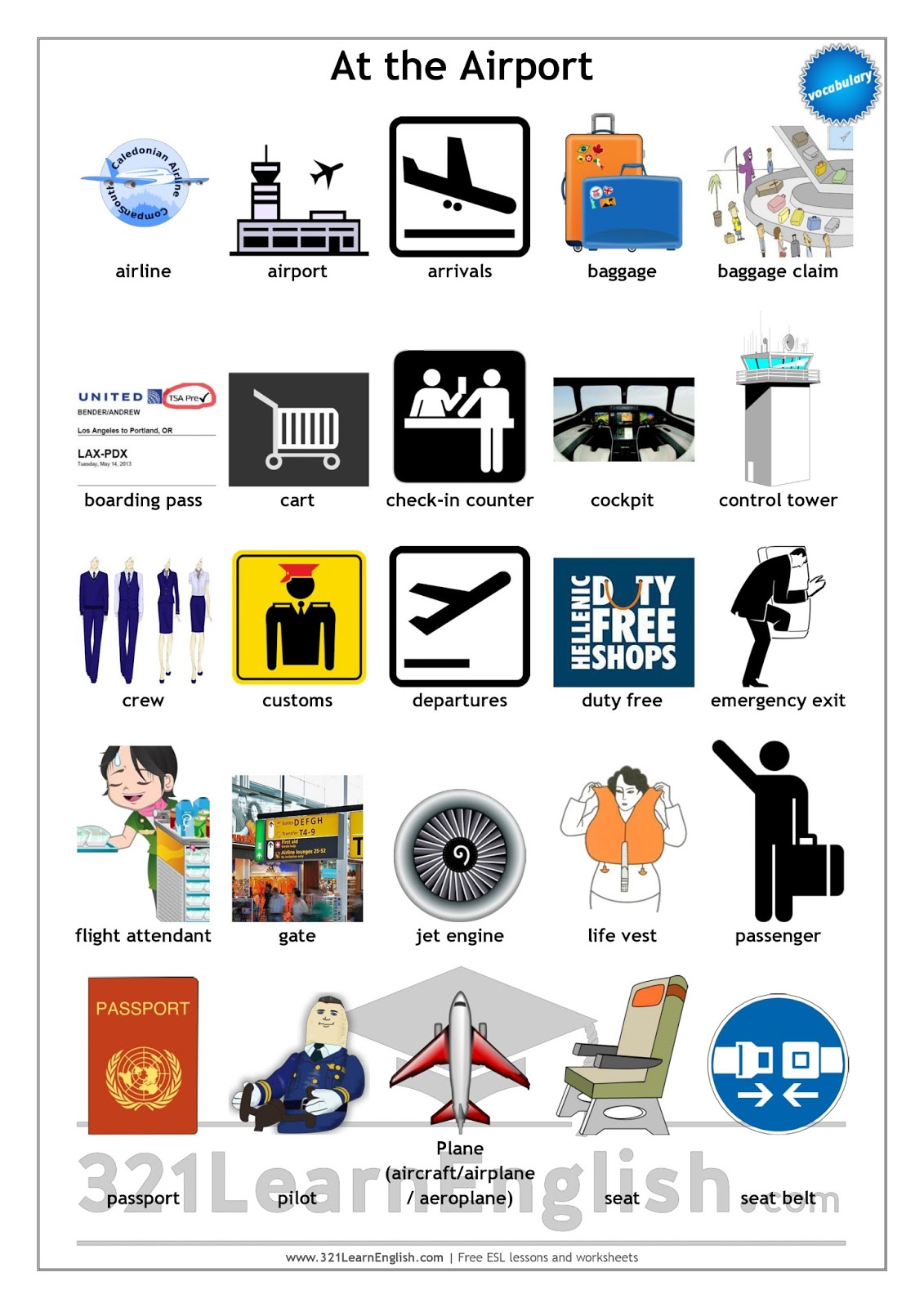 321 Learn English Com Vocabulary At The Airport Level B1