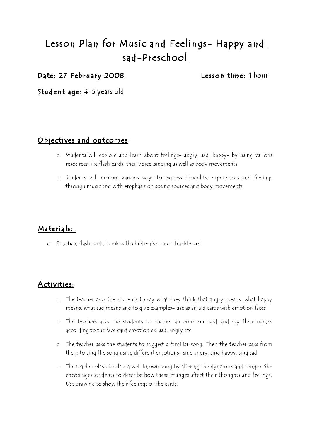 A Childs Place Feelings Worksheet Kindergarten Ideas