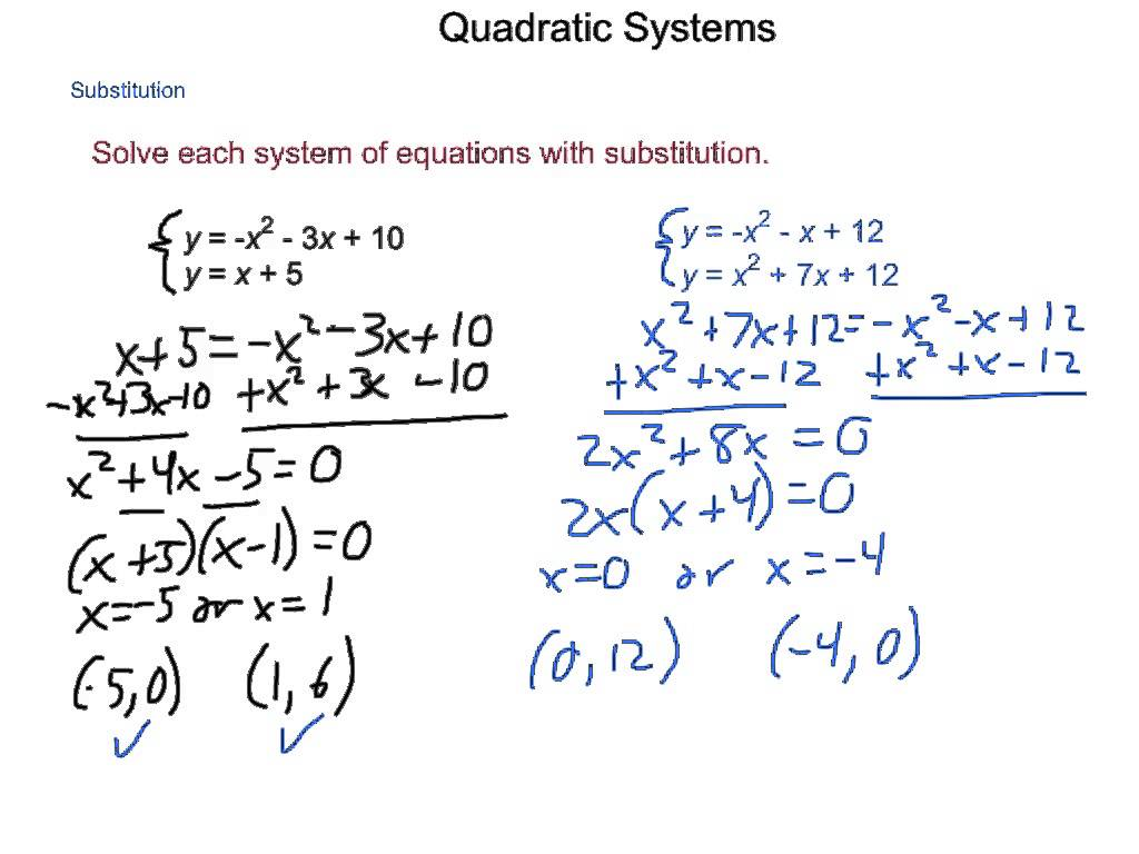 System Of Linear And Quadratic Equations Worksheets
