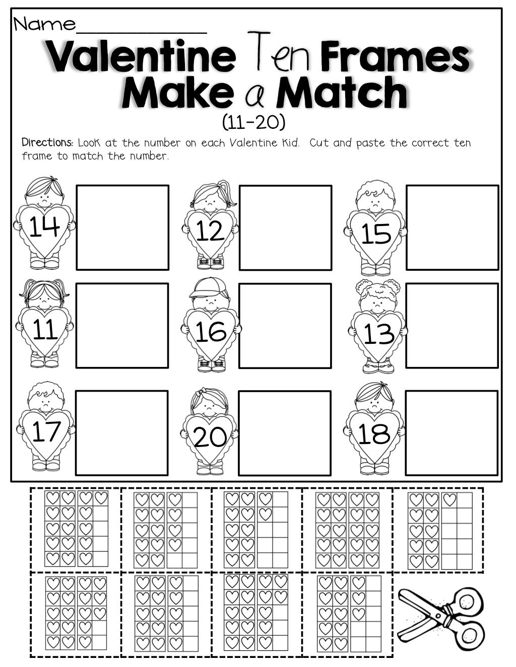 Ten Frame Addition Worksheets For First Grade