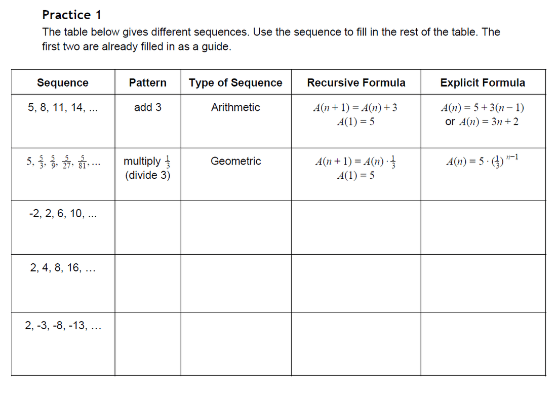 Arithmetic Sequence Worksheets
