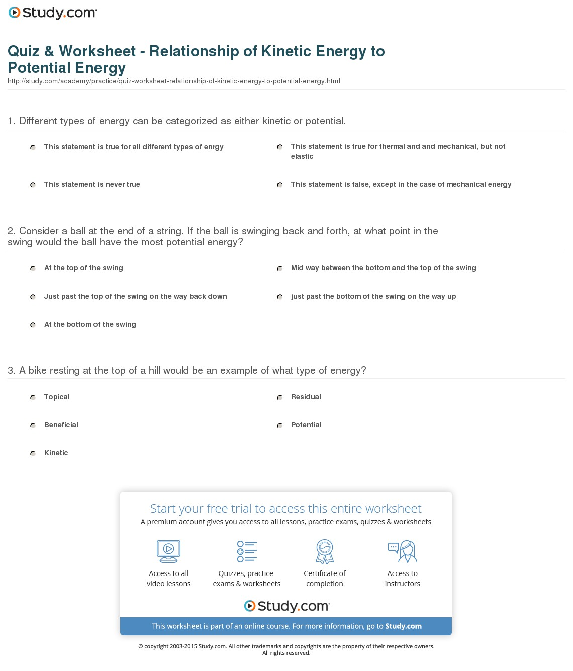 Kinetic Vs Potential Energy Worksheets