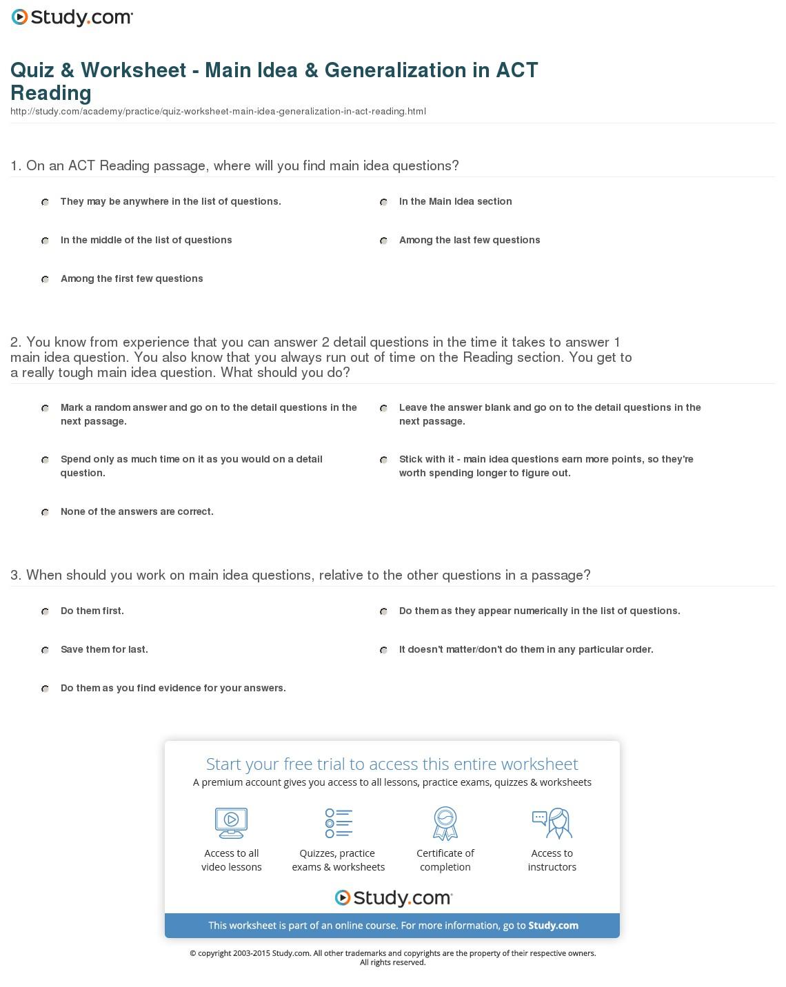 Making Generalizations Worksheets