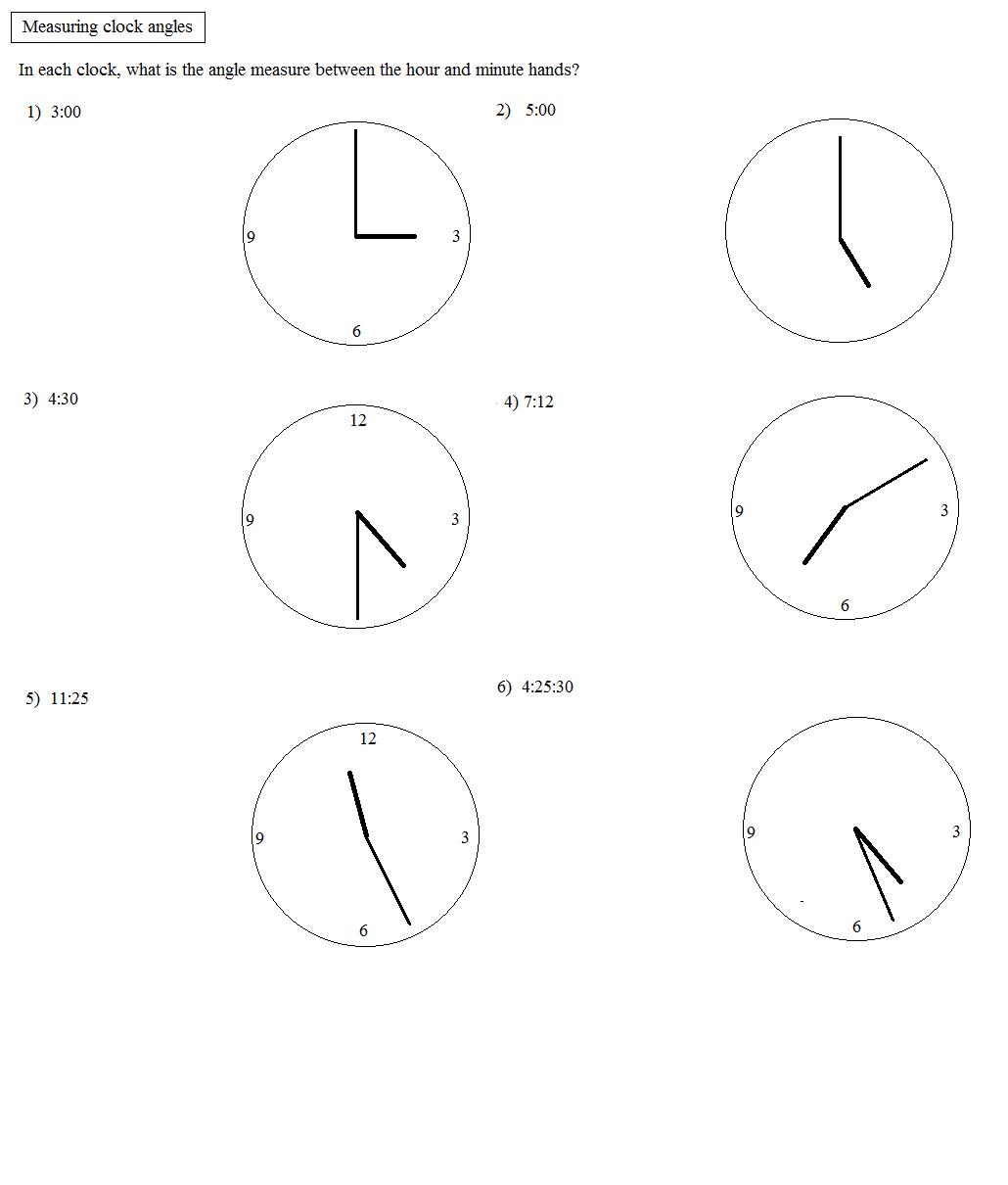 Clock Angles Worksheets