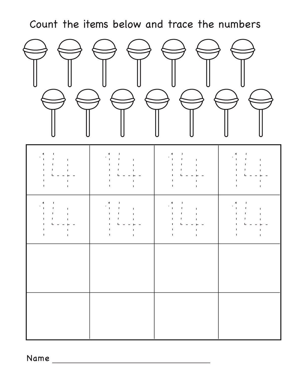 Number 14 Worksheets For Kindergarten