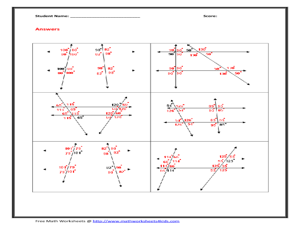Parallel And Transversal Lines Worksheets