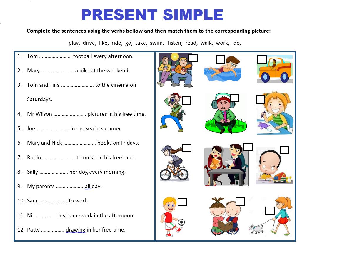 Present Simple For Children Worksheets